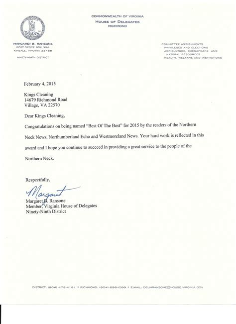 Letter For Cleaning Services 2015 Margaret Ransone Letter Cleaning Service Inc