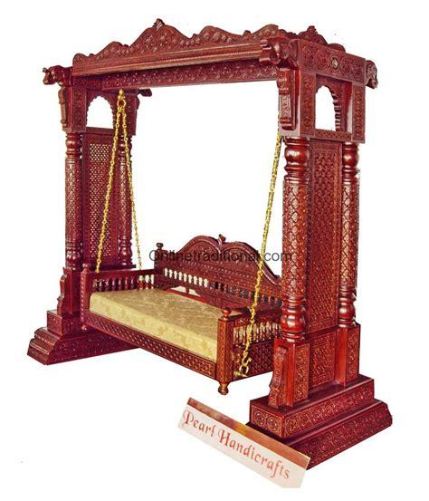teak wood swing double pillar jaali wooden swing jhoola for home hotel