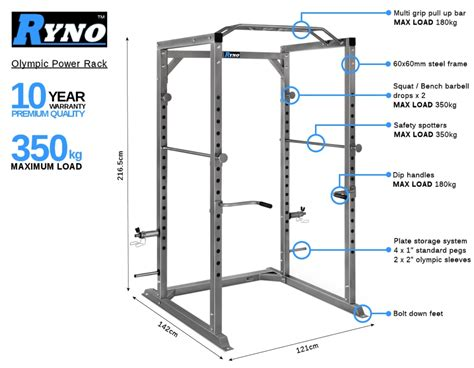 Bar Cl Rack Plans by Ryno Power Rack Olympic Squat Cage Heavy Duty