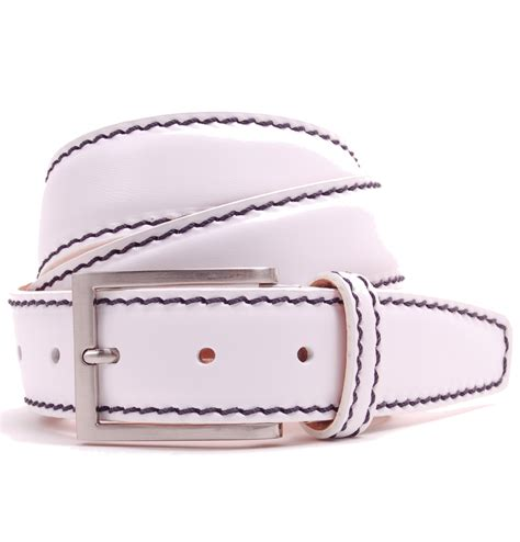 tom and harry s white leather belt with navy