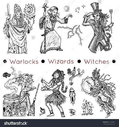 doodle release demons graphic collection characters warlocks stock