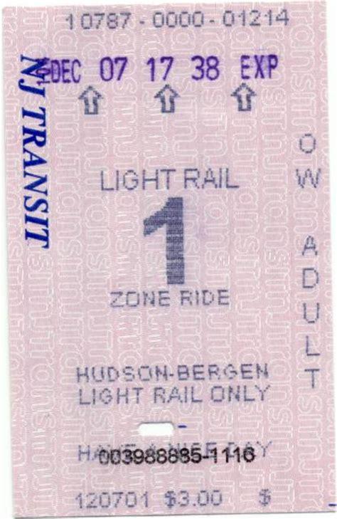 light rail ticket us jersey farecards