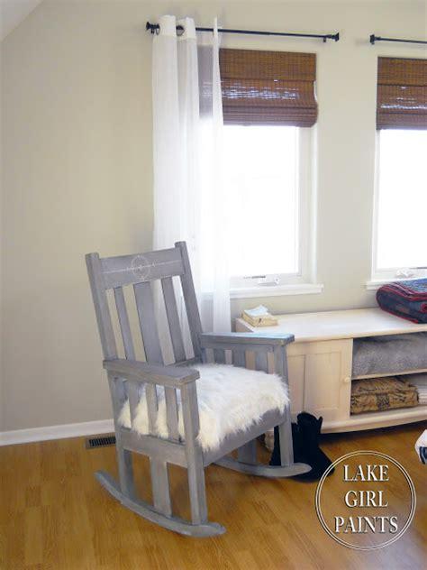 bedroom rocking chair lake girl paints rocker in shabby denim paint and white fur