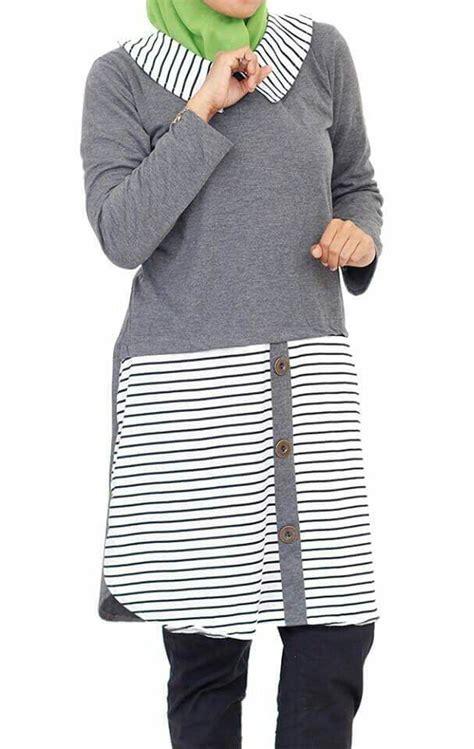Tunik Kombinasi Stripes jual tunik kaos abu abu kombinasi salur stripes putih