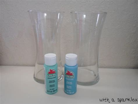 How To Paint A Glass Vase With Acrylic Paint With A Sparkle Paint Glass Using Acrylic Paint