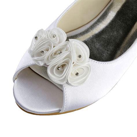 Hochzeitsschuhe Peep Toe by S Satin Flat Heel Peep Toe Sandalen White