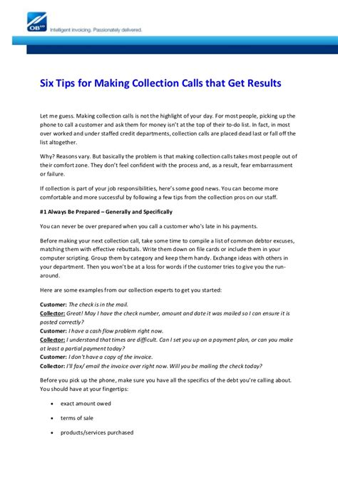 Six Tips For Making Collection Calls That Get Results Collection Call Template