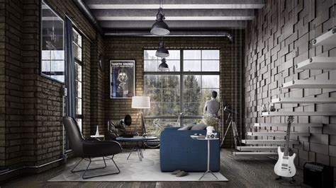industrial home interior design industrial style for living room design apply with concrete brick and wooden touched roohome