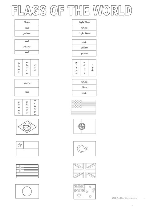 flags of the world printable worksheets flags of the world worksheet free esl printable