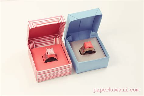How To Make A Origami Ring Box - origami ring box for s day paper kawaii