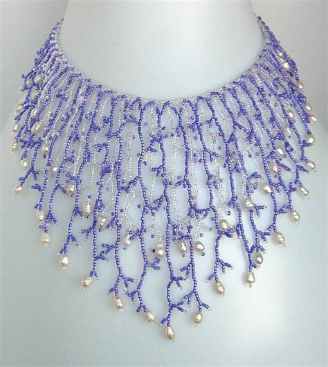 bead netting necklace pattern seed beaded necklace netting stitch tutorial