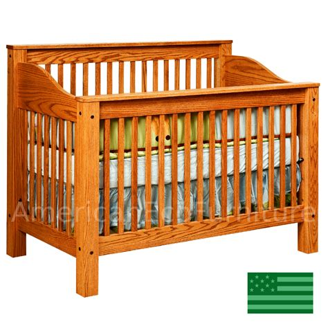 American Made Crib by Amish Mission 4 In 1 Convertible Baby Crib Solid Wood