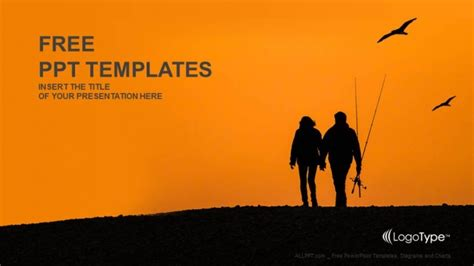 fishing couples with sunset recreation ppt templates