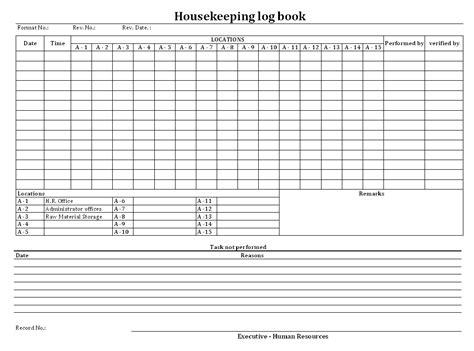 format logbook housekeeping log book format