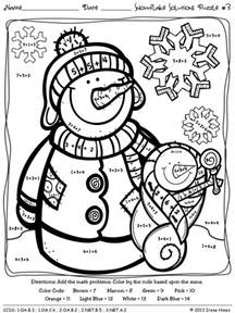 winter color by number free coloring pages of math color code