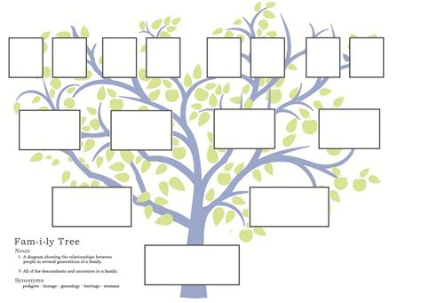 family tree template in kid friendly