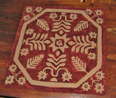 Hooked Rug Patterns Primitive by Primitive Hooked Rug Pattern On Linen Quot Antique Coverlet Quot Ebay