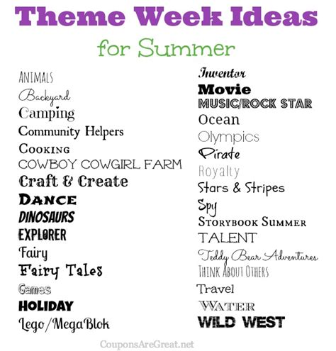 theme names for summer c frugal summer fun ideas summer theme week ideas