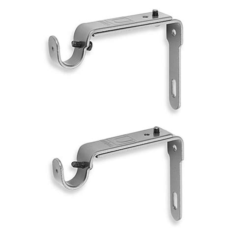 umbra curtain rod brackets buy umbra 174 pewter 2 piece drapery rod brackets from bed