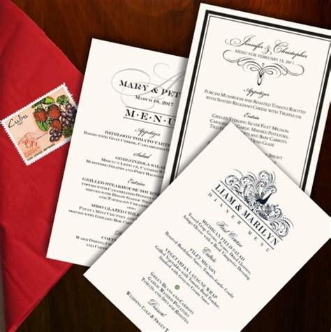 wedding menu cards dinner party menus custom designs