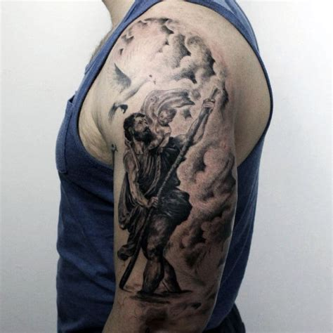 saint christopher tattoo 40 st christopher designs for manly ink ideas