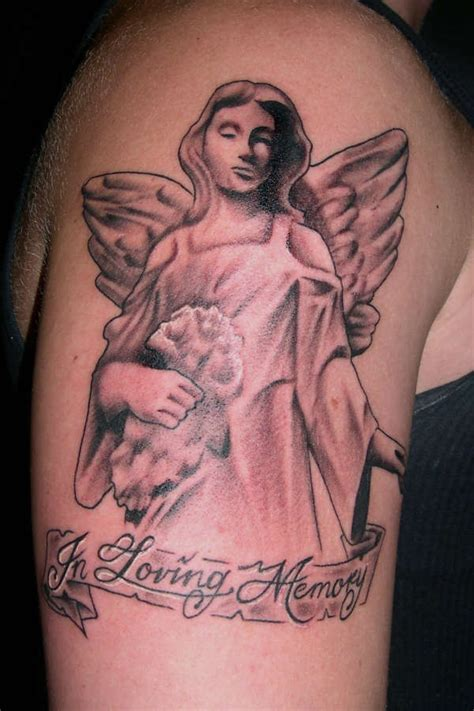 angel tattoos in memory of in loving memory grey ink on half sleeve