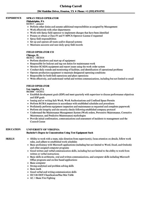 field resume templates fantastic oilfield operator resume exles pictures