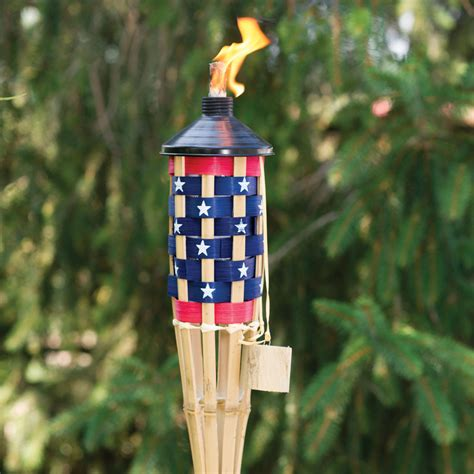 Outdoor Torch Lighting 5 American Flag Patio Torch Light