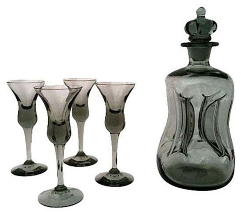 Modern Barware Set Pre Owned Mid Century Black Glass Decanter Set