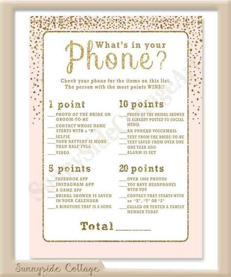 printable bridal shower cell phone game what s in your phone bridal shower game with glittery gold