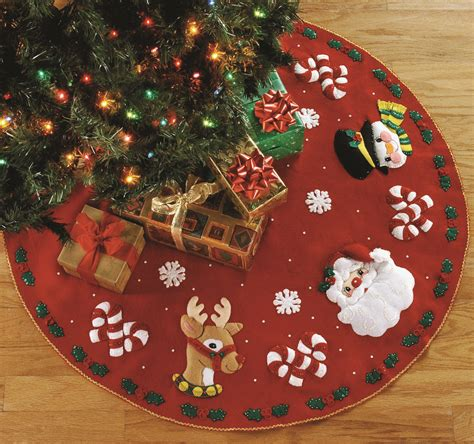 santa friends 43 quot bucilla felt christmas tree skirt kit