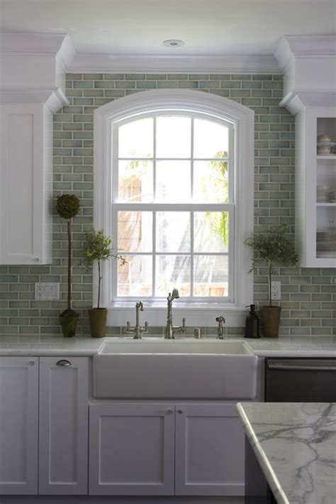 kitchen window backsplash green brick backsplash tiles transitional kitchen