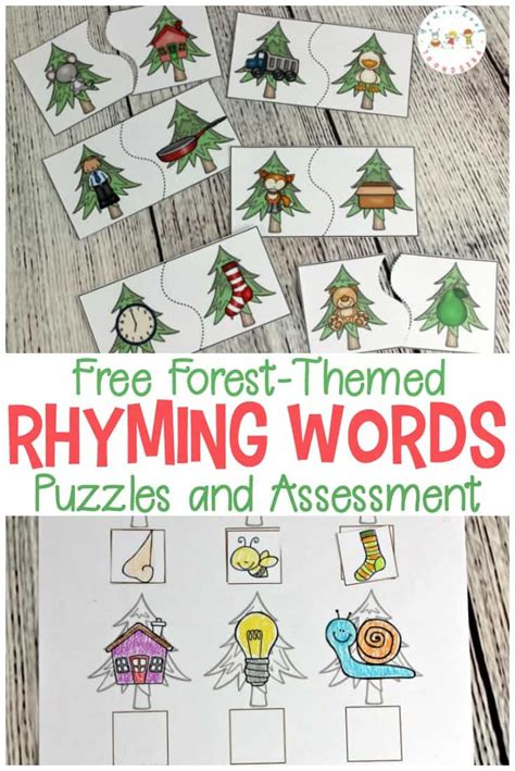 printable rhyming puzzles forest themed printable rhyming puzzles for kids
