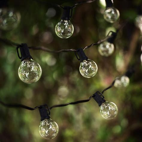 Outdoor Lights String Globe 25ft Globe String Lights With 25 G40 Bulbs Vintage Patio Garden Light String For Deco Outdoor
