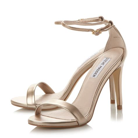 heeled sandal steve madden stecy two part heeled sandals in metallic lyst