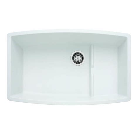 White Undermount Kitchen Sink by Blanco Performa Cascade Undermount Granite Composite 32 In
