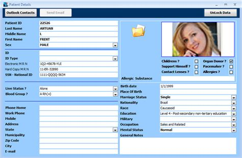 patient database template database seven products