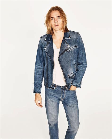 Zara Denim zara denim biker jacket in blue for lyst