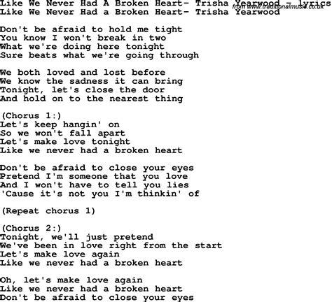 when we have love lyrics love song lyrics for like we never had a broken heart