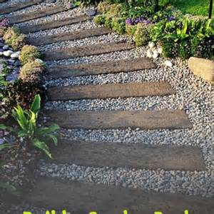 Mulch In Backyard - build a garden path using railway sleepers