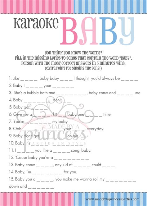 Karaoke Shower by Free Gender Reveal Baby Shower From Made By A