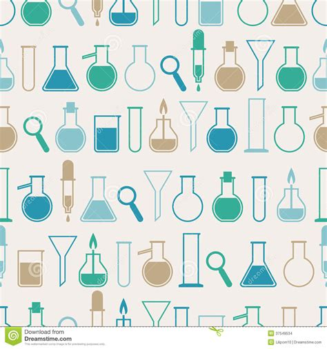 pattern making lab seamless pattern with laboratory equipment stock images
