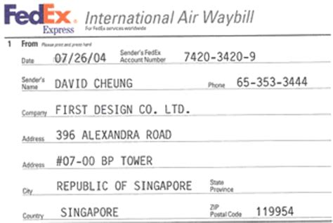 invoice template singapore fedex service guide air waybill