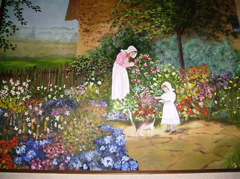 Cottage Garden Paintings by Cottage Garden Painting By Phyllis Miller