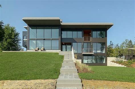 house design glass modern glass lake house features modern silhouette of earthy