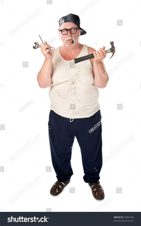 Fatman Plumbing by In Shirt With Tools Stock Photo