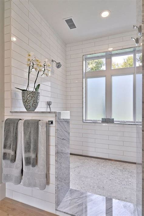 modern farmhouse bathroom 25 best ideas about half wall shower on pinterest
