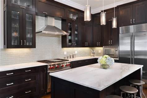 espresso cabinets with granite Kitchen Transitional with