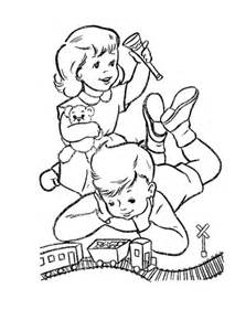 dick and june play with their toys coloring page