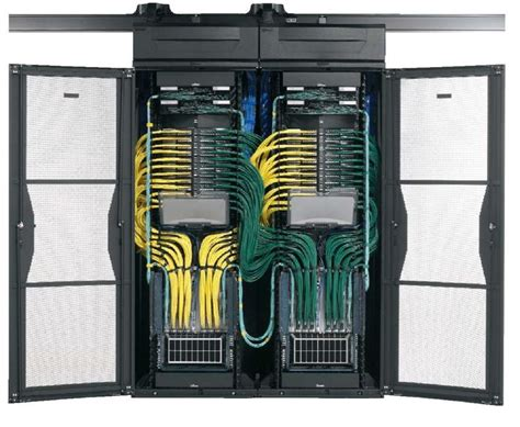 yellow and green cable management dual racks redundancy